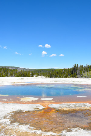 Beauty Pool in the Upper Geyser Basin of Yellowstone National Park. the pool shares and underground link with the nearby Chromatic Pool.