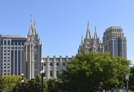 SALT LAKE CITY, UTAH - JUNE 28, 2017: Salt Lake Temple. Built between 1853 and 1893 the temple is seen from the LDS Conference Center.