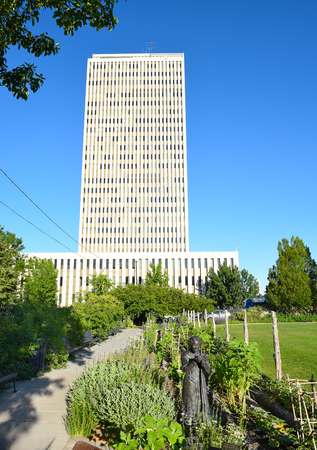 lds: SALT LAKE CITY, UTAH - JUNE 29, 2017: LDS Office Building. Headquarters for the Church of Latter-day Saints, seen from the Brigham Young Historic Park.