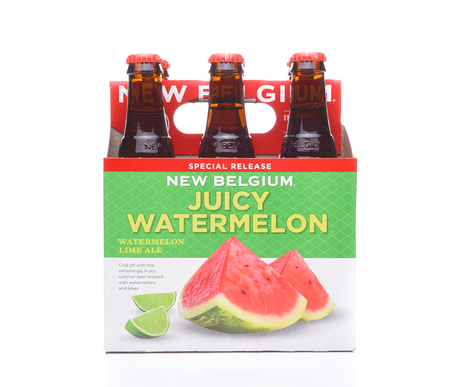 6 pack beer: IRVINE, CA - JULY 16, 2017: New Belgium Watermelon Lime Ale 6 pack. A craft brewery located in Fort Collins, Colorado. It was opened in 1991 by Jeff Lebesch and Kim Jordan. Editorial