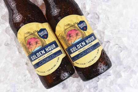 adams: IRVINE, CA - JULY 16, 2017: Samuel Adams Golden Hour on ice. From the Boston Beer Company. Based on sales in 2016, it is the second largest craft brewery in the U.S. Editorial