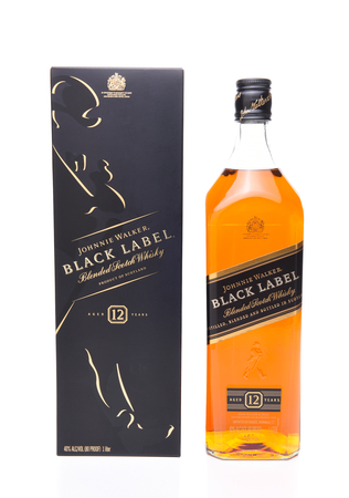 IRVINE, CALIFORNIA - JULY 17, 2017: Johnnie Walker Black Label bottle and gift box. A 70 proof blend of about 40 whiskies, each aged at least 12 years. Editorial
