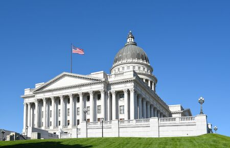SALT LAKE CITY, UTAH - JUNE 28, 2017: Utah State Capitol building southwest corner. In 1888, the city donated the land, called Arsenal Hill, to the Utah Territory for the construction of a capitol building.