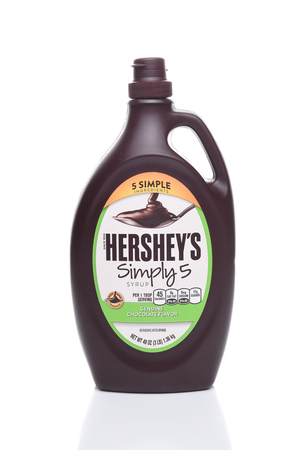 hershey's: IRVINE, CALIFORNIA - AUGUST 21, 2017:  Hersheys Simply 5 Syrup. Hersheys new replacement for their traditional Chocolate Syrup with all Non-GMO ingredients.