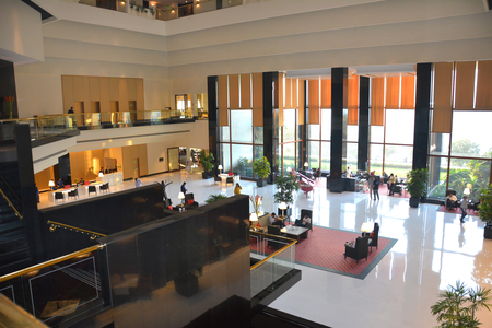 MUMBAI, INDIA - JANUARY 11, 2017: The Oberoi Mumbai Hotel Lobby. The luxury hotel is on the exclusive Marine Drive, with unparalleled views of the ocean and the Queens Necklace.