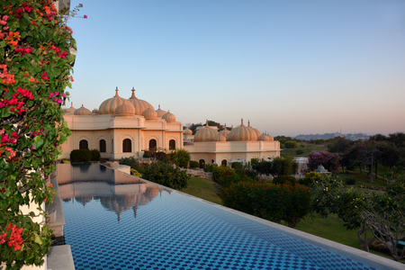 UDAIPUR, INDIA - JANUARY 21, 2017: Pool at the Oberoi Udaivilas Hotel. Located on the bank of Lake Pichola the hotel has over fifty acres, which includes a twenty-acre wildlife sanctuary. Editorial