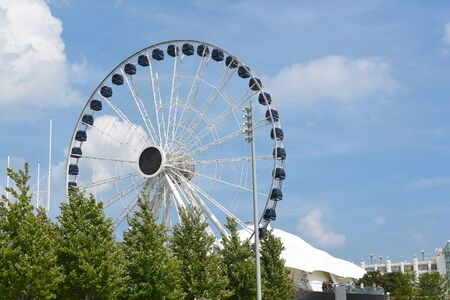 CHICAGO, ILLINOIS - SEPTEMBER 5, 2016: Centennial Wheel at Navy Pier. The new attraction seen from Lake Michigan.