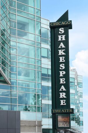 CHICAGO, ILLINOIS - September 15, 2016: Shakespeare Theater sign. The popular theater is located on Navy Pier on the shore of Lake Michigan.