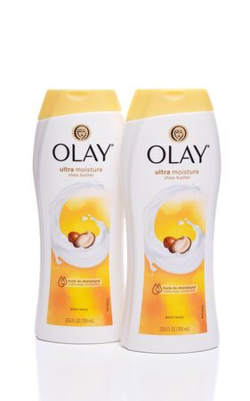IRVINE, CA - SEPTEMBER 22, 2017: Olay Body Wash with Shea Butter. Olay an American skin care line,  is one of Procter and Gambles multibillion-dollar brands.