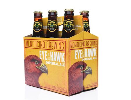 6 pack beer: IRVINE,CA - SEPTEMBER 30, 2017: Eye of the Hawk Imperial Ale. From the Mendocino Brewing Company, in Ukiah, California. Editorial