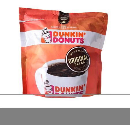 IRVINE, CALIFORNIA - OCTOBER 27, 2017: A 40 ounce bag of Dunkin Donuts Coffee Medium Roast. The Arabica blend is among the chains favorite coffees. Editorial
