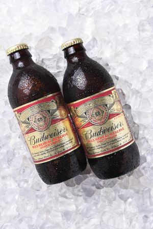 IRVINE, CA - NOVEMBER 7, 2017: Bottles of Budweiser 1933 Repeal Reserve Amber Lager on ice. Budweiser is releasing this historically inspired recipe to celebrate the Repeal of Prohibition. Editorial