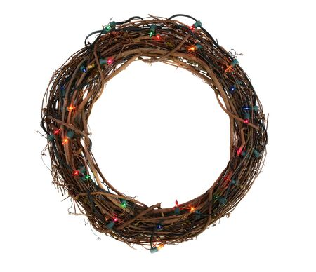 Twig Christmas wreath with lights isoladed on white Stock Photo