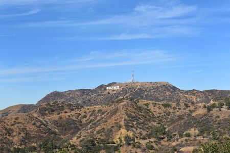 LOS ANGELES - NOVEMBER 24, 2017: The Hollywood Sign and Santa Monica Mountains, Los Angeles California, seen from the Griffith Observatory.