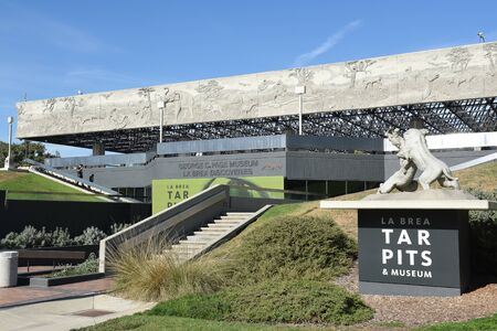 LOS ANGELES - NOVEMBER 24, 2017: George C Page Museum at the La Brea Tar Pits. Situated within what was once the Mexican land grant of Rancho La Brea and now part of the Miracle Mile district.