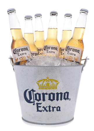 IRVINE, CALIFORNIA -NOVEMBER 27, 2017: Bucket of Corona Extra Beer Bottles. Corona is the most popular imported beer in the USA.