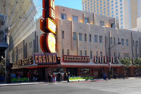 LAS VEGAS - DECEMBER 7, 2017: The Golden Gate Hotel and Casino. In Downtown Las Vegas, is the oldest and smallest hotel in the Freemont Street Experience.