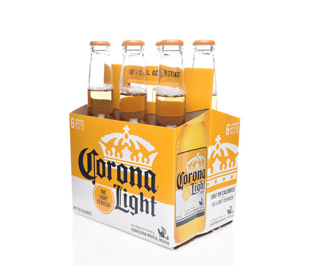 IRVINE, CALIFORNIA - DECEMBER 14, 2017: 6 pack  of Corona Light Beer Bottles. Corona is the most popular imported beer in the USA.