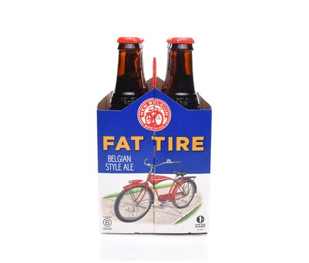 IRVINE, CALIFORNIA - December 14, 2017: Fat Tire Amber Ale. 6 Pack of of Fat Tire Amber Ale from the New Belgium Brewing Company, of Fort Collins, Colorado. Editöryel