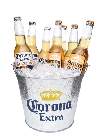 IRVINE, CALIFORNIA - DECEMBER 14, 2017: Bucket of Corona Light Beer and Corona Extra Bottles. Corona is the most popular imported beer in the USA.