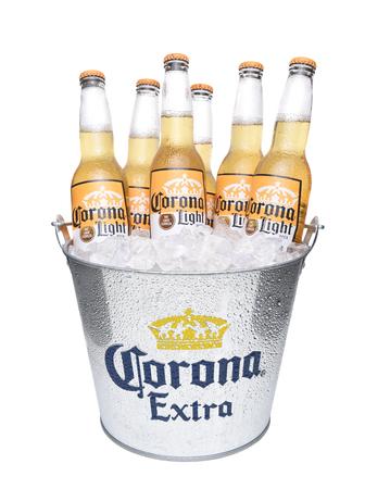 IRVINE, CALIFORNIA - DECEMBER 14, 2017: Bucket of Corona Light Beer Bottles. Corona is the most popular imported beer in the USA.