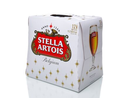 IRVINE, CALIFORNIA - DECEMBER 17, 2017: Stella Artois Beer 12 Pack. Stella has been brewed in Leuven, Belgium, since 1926, and launched as a festive beer, named after the Christmas star.