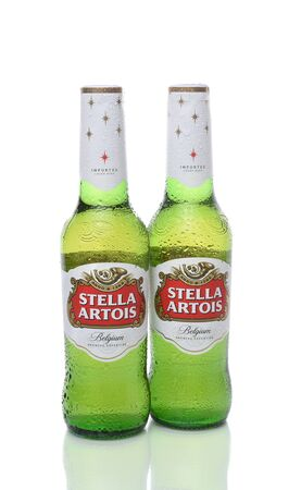 IRVINE, CALIFORNIA - DECEMBER 17, 2017: Stella Artois Beer Bottles. Stella has been brewed in Leuven, Belgium, since 1926, and launched as a festive beer, named after the Christmas star.