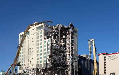 LAS VEGAS - DECEMBER 7, 2017: The Las Vegas Club Hotel and Casino demolition. The buildings are being razed to make room for a new Hotel Casino project. Editorial