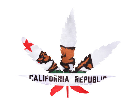 A marijuana leaf superimposed over a California Flag. California has recently legalized recreational pot.
