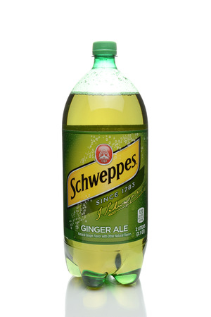 IRVINE, CA - JANUARY 4, 2018:  Schweppes Ginger Ale. The classic caffeine free sparkling beverage was introduced in 1870.