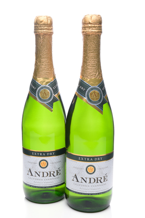 IRVINE, CA - JANUARY 8, 2018: Two Bottles of Andre California Champagne. Andre is a division of the E J Gallo Winery. Editorial