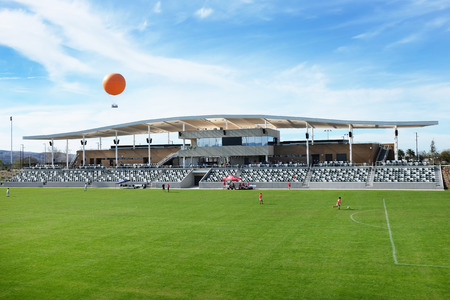 IRVINE, CA - JANUARY 14, 2018: Orange County Great Park Soccer Stadium and Balloon Ride. The public park is located in Irvine, with a focus on sports, agriculture, and the arts.