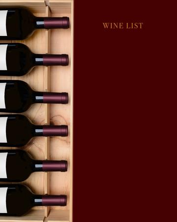 Rode wijnlijst: een krat wijnflessen met een dieprode ruimte die leeg is voor uw exemplaar. Stockfoto