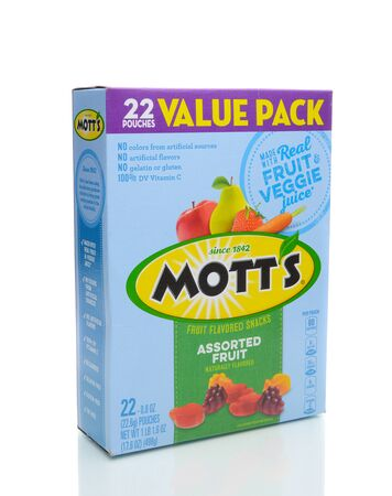 IRVINE, CA - JANUARY 4, 2018: Motts Fruit Flavored Snacks. The tasty treat combines real fruit and vegetable juice in a chewable gummy snack.