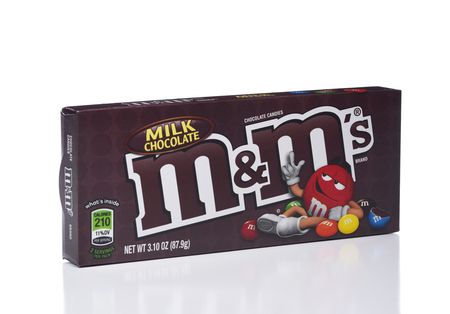 IRVINE, CALIFORNIA - JANUARY 5, 2018: M and Ms Milk Chocolate. Two boxes of the popular candy coated choclate confection.