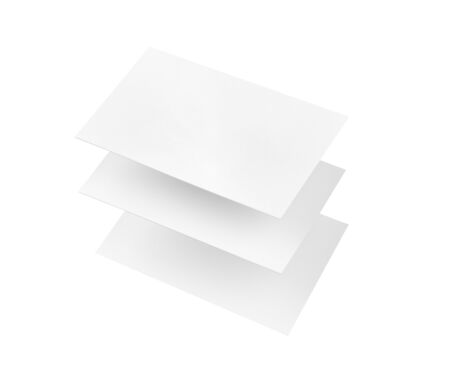 Three blank buisness cards floating on white. The overlapping cards appear to be suspended above one another. Stok Fotoğraf