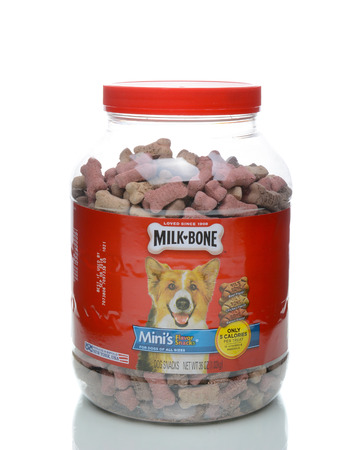 IRVINE, CALIFORNIA - JANUARY 4, 2018: Jar of Milk Bone Minis. Milk-Bone is a brand of dog biscuit, created in 1908. The mini treats contain only 5 calories. Editorial