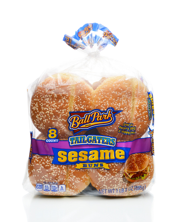 IRVINE, CALIFORNIA - JANUARY 4, 2018: Ball Park Tailgaters Sesame Buns. Partners with Ball Park brand franks and a division of Bimbo Bakeries USA. Editorial