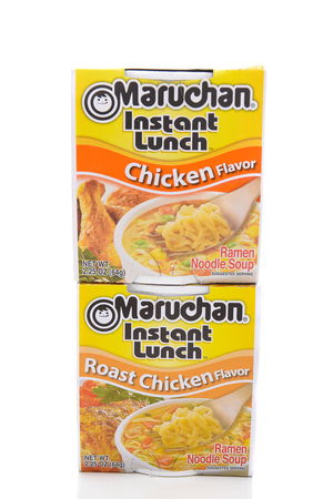 IRVINE, CALIFORNIA - MARCH 10,  2018: Maruchan Instant Lunch two Flavors, Maruchan began making the popular instant lunch in 1961.