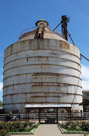 WACO, TEXAS - MARCH 19, 2018: Silo seen from the Seed Shed at Magnolia Market . The shop is owned by Chip and Joanna Ggaines stars of HGTV's Fixer Upper.