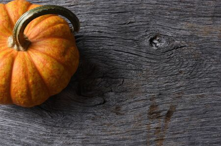 Top view of a Pumpkin Still Life on Rustic Wood Table.