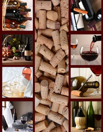 Wine Collage: Nine wine bottle and glass images arranged around a central image of corks.