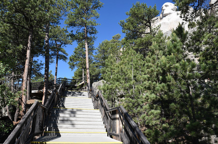 Mount Rushmore National Memorial George Washington Profile and stairs seen from the Presidents Trail. Editorial