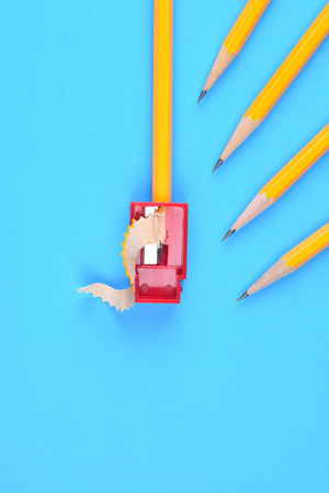 Back to School Concept: Four Yellow Pencils pointing  a sharpener and shavings, on a blue background. Copy space on the left and bottom. Stock Photo