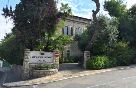 JERUSALEM, MAY 9, 2018: American Colony Hotel entrance. The historic building previously housed the utopian American-Swedish community known as the American Colony.