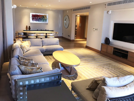 TEL AVIV, ISRAEL - MAY 15, 2018: White City Suite at the Hilton Hotel Tel Aviv. The luxury suite is on the top floor of the hotel. Redakční