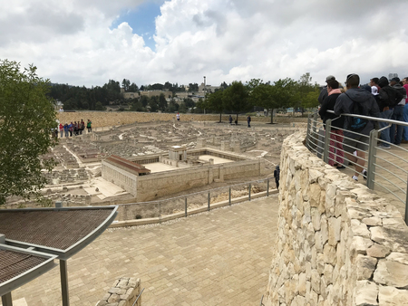JERUSALEM - MAY 12, 2018: The Israel Museum. Model of Jerusalem in the Second Temple Period; which reconstructs the topography and architectural character of the city. Sajtókép