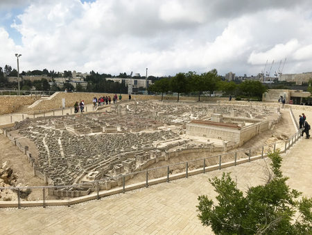 JERUSALEM - MAY 12, 2018: The Israel Museum. Model of Jerusalem in the Second Temple Period; which reconstructs the topography and architectural character of the city. Editorial