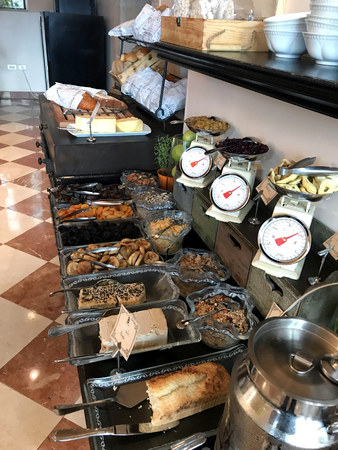 TIBERIAS, ISRAEL - MAY 14, 2018: Scots Hotel Breakfast Buffet. A spread of various foods at the hotel once the site of a 19th-century Scottish hospital.