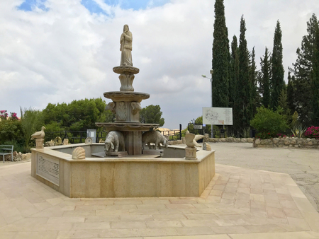 BETHLEHEM, PALESTINE - MAY 12, 2018: Shepherds Field Fountain and Statue. The chapel marks the place where, according to Catholic tradition, the angels first announced the birth of Christ. 報道画像